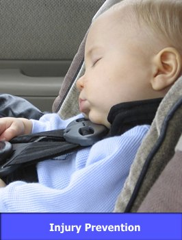 Child in Car Seat with link to Injury Prevention