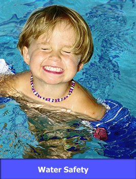 Child in Pool with link to Water Safety
