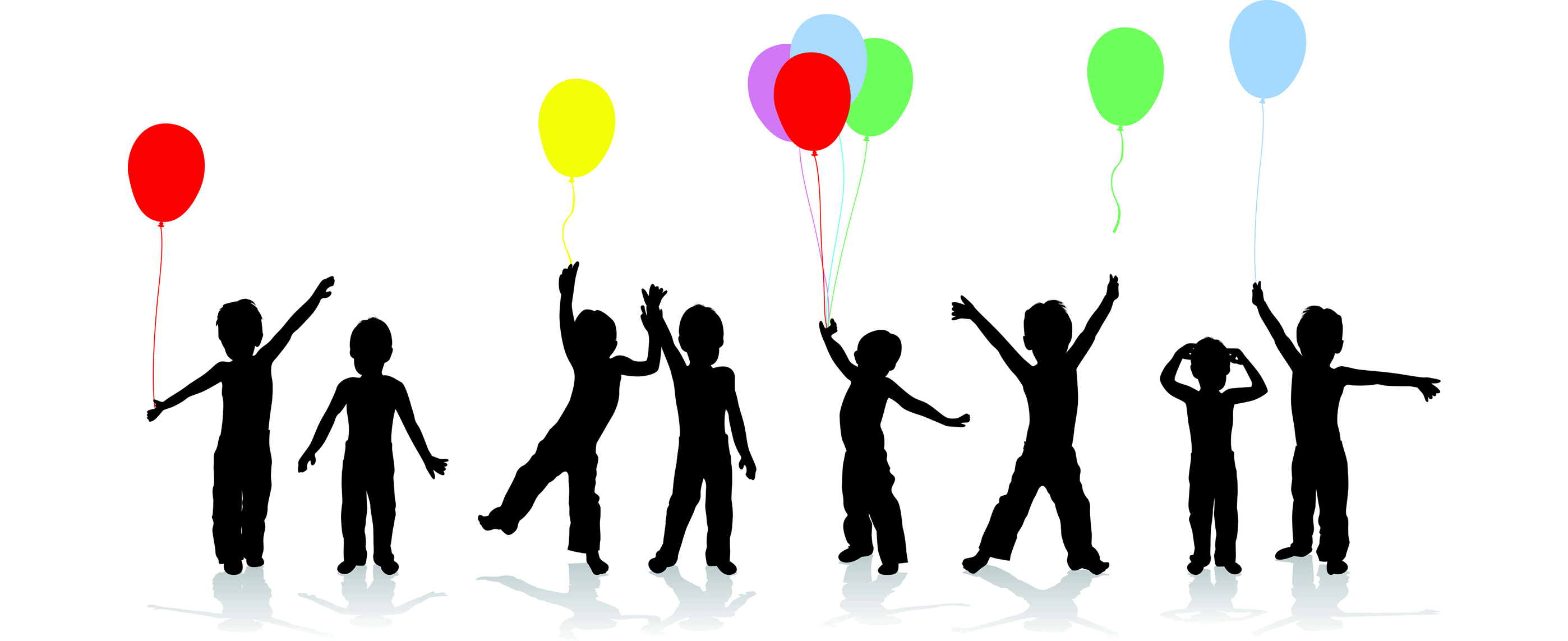 Children in a row with balloons