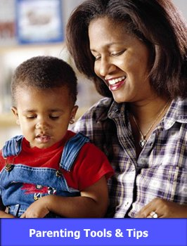 Mom Reading to Child with link to Parenting Tools and Tips