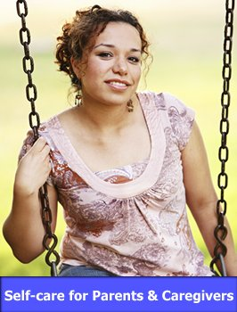 Parent Relaxing on Swing with link to Self-Care for Parents and Caregivers
